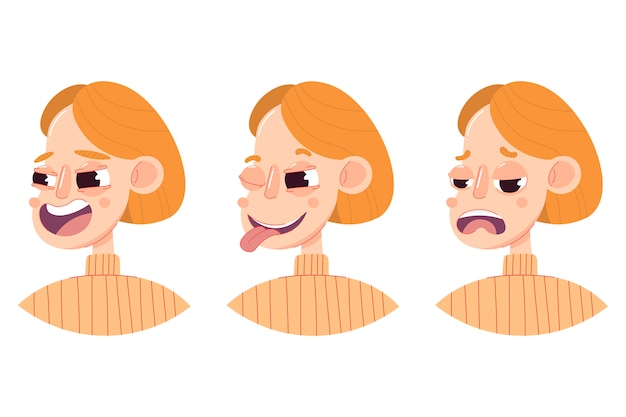 さまざまな感情を持つ女性の頭の3つの図面のセット:笑い、いちゃつく、ウィンク、悲しみ。