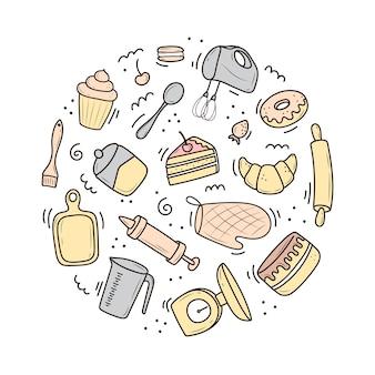 Набор инструментов для выпечки и приготовления, миксер, торт, ложка, кекс, весы. иллюстрация в стиле каракули. набросок нарисованный от руки