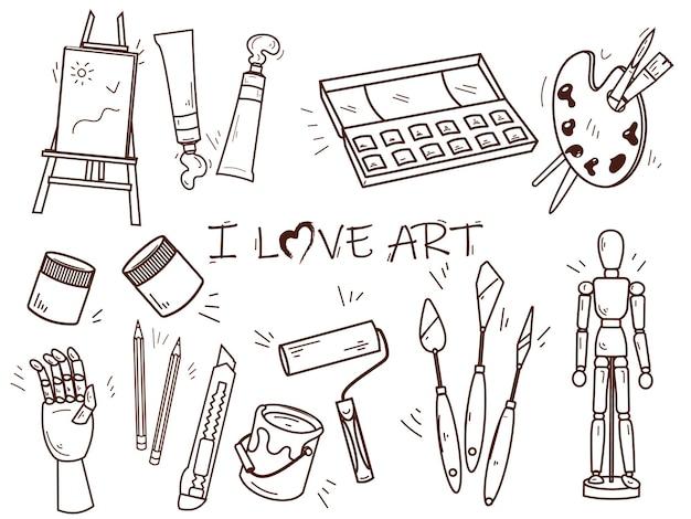 Набор инструментов для рисования и творчества в линейном стиле.