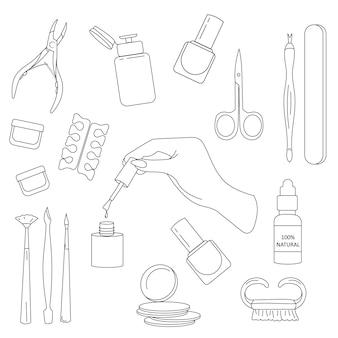 線形スタイルのマニキュアのためのツールのセット。