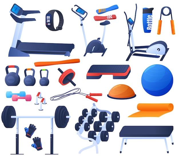 スポーツ、ジムでのトレーニングのためのツールのセット。トレッドミル、エアロバイク、ダンベル、山、心拍数モニター。カラフルなイラスト
