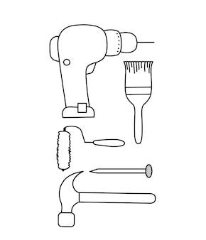 修理に使用されるツールのセット。