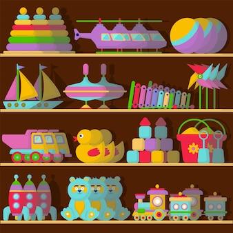 おもちゃのセット。おもちゃ屋の棚に。白い背景の上のフラットな漫画のスタイル。ゲーム。