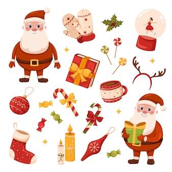 Набор традиционных новогодних предметов красные варежки и носки чашка кофе и конфеты леденцы