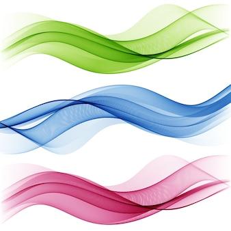 透明な波のセット。抽象的な背景色の波。