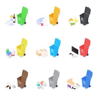 다양한 종류의 쓰레기를 담을 수있는 쓰레기통 세트.