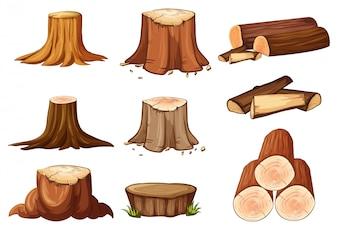 Набор пней деревьев и древесины