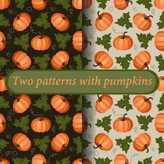 두 가지 밝고 화려한 패턴의 집합입니다. 잎이 달린 익은 호박 과일. 추수 감사절. 벡터.