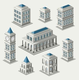 아이소 메트릭 도시와 골동품 건물의 집합