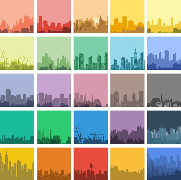 フラットスタイルの都市景観のセット。