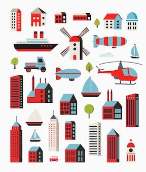 Набор городских объектов в плоском стиле, включая деревья и автомобили, воздушные шары и лодки и яхты.