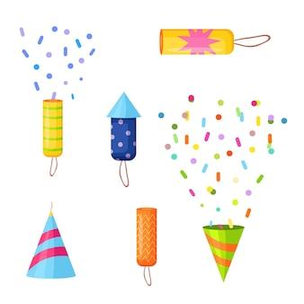 Набор различных петард с конфетти для праздника векторная иллюстрация