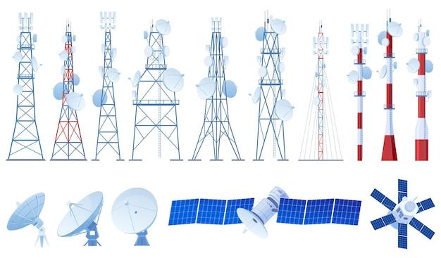 さまざまな電波塔、アンテナ、衛星のセット。 5g。インターネット、ラジオ信号。ベクトルイラスト