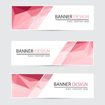 A set of vector banners with polygonal background