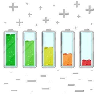 충전 수준이 다른 벡터 만화 배터리 세트는 흰색 배경에 격리되어 있습니다.