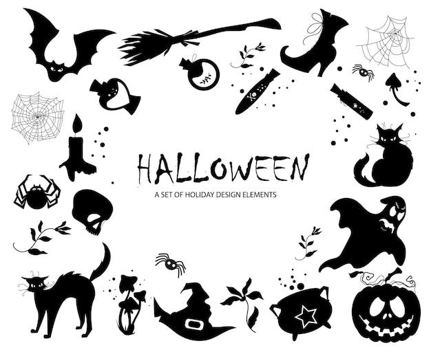 Набор векторных элементов для хэллоуина. силуэты изображений.