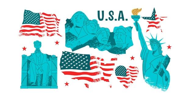 벡터 요소 집합입니다. 미국, 미국의 랜드마크, 동상 및 기념물.