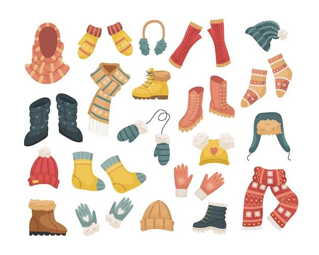 Набор векторных иллюстраций зимних шапок. шапка, снуд, наушники, перчатки, варежки, минеты.