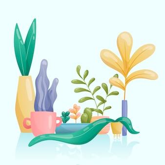 さまざまな珍しい形や明るい色の鉢や花瓶にある観葉植物のベクトル画像のセット。大小の葉がグラデーション、サボテンで描かれています。