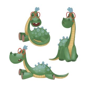 Набор векторных изображений с сидящими лежачими и стоящими динозаврами