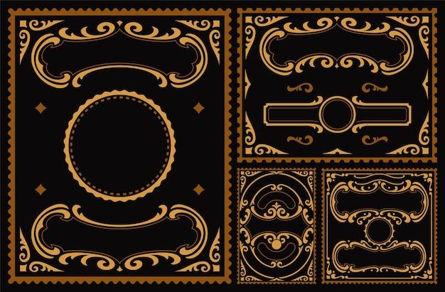 Набор старинных границ на темном фоне Premium векторы