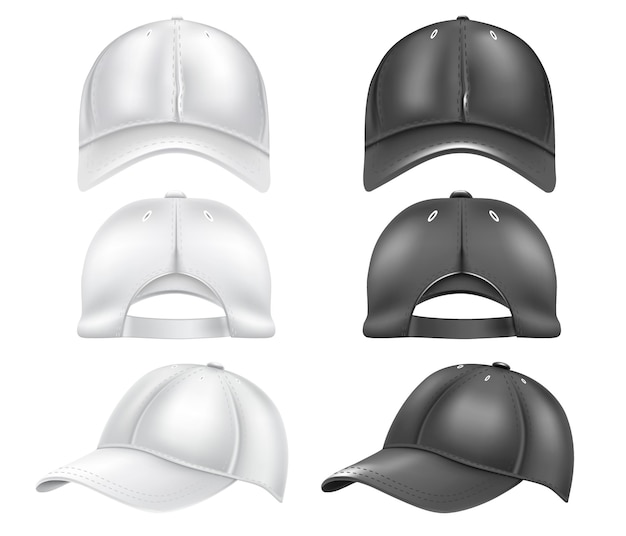 흰색 배경에 고립 된 흰색과 검은 색 야구 모자 세트