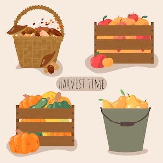 籐のバスケット、バケツ、新鮮な野菜や果物でいっぱいの木箱のセット。ガーデニングのコンセプト、秋の収穫。パッケージデザイン、ポストカード、ポスターに最適