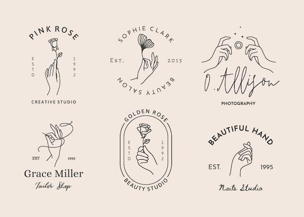 최소한의 선형 스타일의 여성용 손 로고 세트. 다양한 제스처에서 기호 템플릿 또는 상징의 벡터 디자인. 포토그래퍼용, 뷰티 스튜디오, 스파, 재단사, 자수, 네일 스튜디오