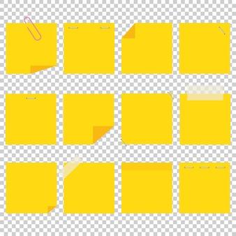 Набор желтых офисных липких листов.