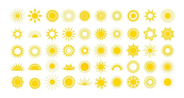 さまざまなスタイルの黄色い太陽のセット