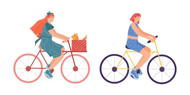 Набор молодых женщин на велосипедах. мультяшный стиль. изолированные на белом фоне.