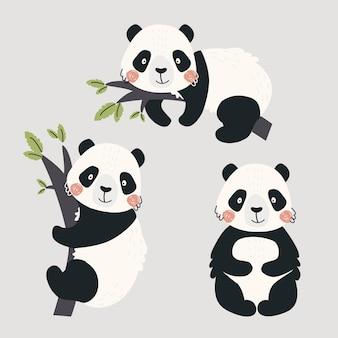 귀여운 팬더 곰이 있는 세트 인쇄용 벡터 일러스트 귀여운 어린이 배경