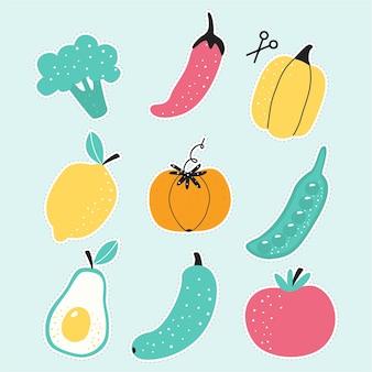 브로콜리 토마토 호박 아보카도와 오이의 귀여운 야채 스티커 세트