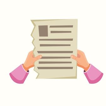 手に新聞や紙のシート。フラットスタイルのベクトル図