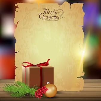 クリスマスプレゼント付きの古い紙のシート