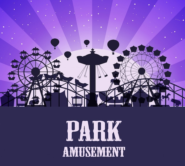 Шаблон парка развлечений силуэт