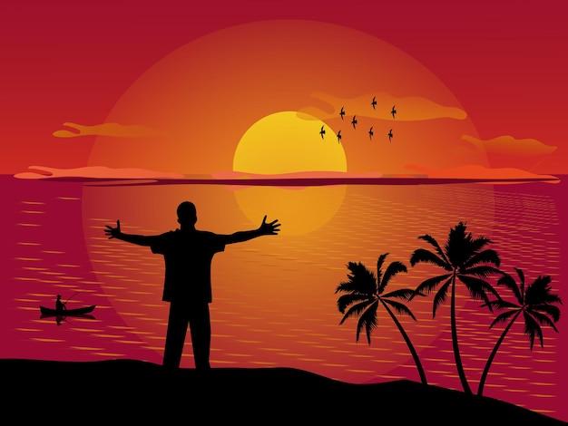 山の夕日の背景の上に腕を伸ばして立っている男のシルエット。