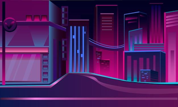 파란색과 분홍색 벡터 일러스트 레이 션 밤 네온 도시의 간단하고 멋진 도시 야경