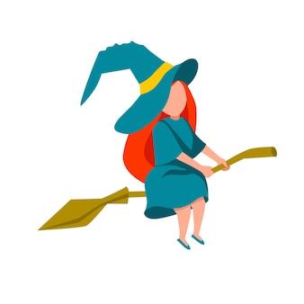 ほうきで飛んでいる若い魔女のシンプルなフラットイラスト。ベファーナのお祝い。白い孤立した背景の上のフラットベクトルイラスト。ストックイメージ