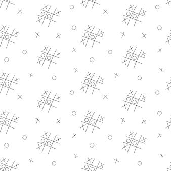 Простой школьный бесшовный образец с игрой в крестики-нолики. черно-белый фон