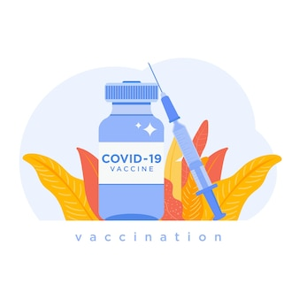 Covid19コロナウイルスワクチン注射器とワクチンワクチン接種アイコンのシングルボトルバイアル