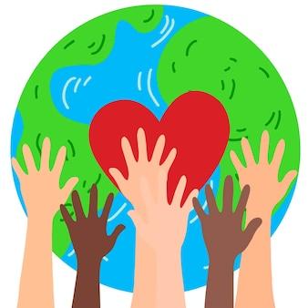 Единое сообщество земля и руки нарисованы от руки