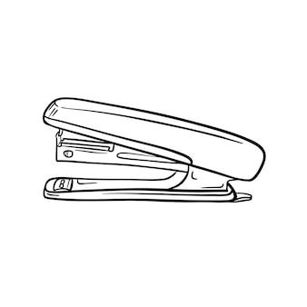 스테이플러의 스케치입니다. 문구류, 제본용 사무용품. 손으로 그린 블랙 화이트