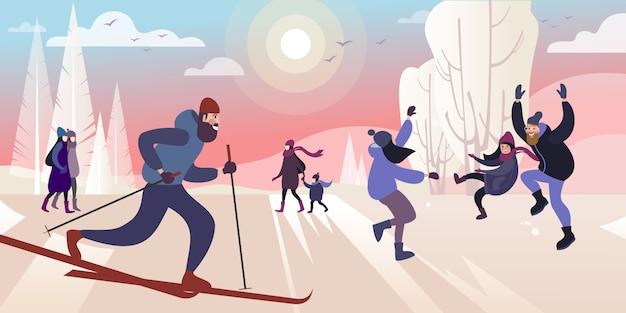 冷ややかな日に冬の都市公園へのスキー旅行。ベクトルイラスト。