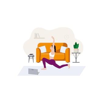 ほっそりした女の子がソファの近くで家に座ってスポーツに従事しています居心地の良い家のインテリアと家のオンライン