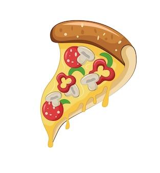 버섯과 소시지를 곁들인 치즈 페퍼 피자 아이콘 이탈리안