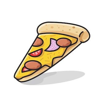 귀여운 라인 아트 삽화에 토마토 토핑을 얹은 맛있는 이탈리아 피자 한 조각