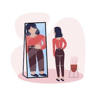 날씬한 젊은 여성이 거울을 보고 자신을 과체중 섭식 장애로 보고 있습니다