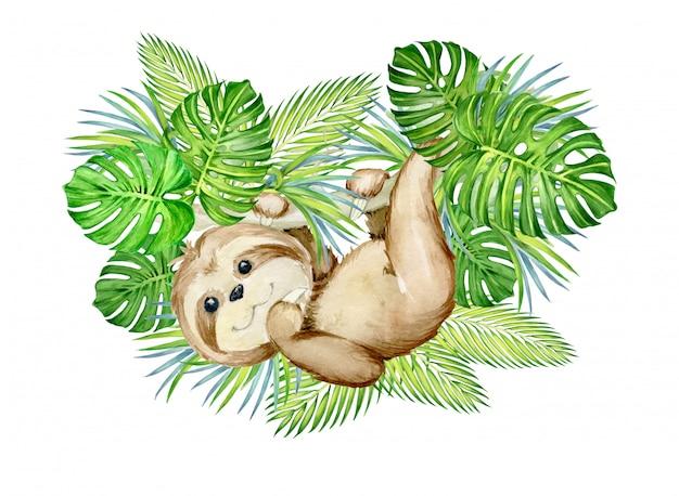 熱帯の葉に囲まれた、木からぶら下がっているナマケモノ。水彩のコンセプトです。