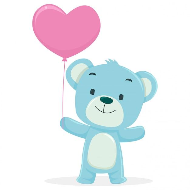 小さなクマはバレンタインデーにバルーンを保持します